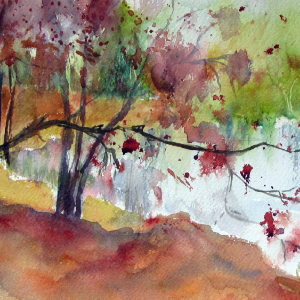 Herbstrock in Rot und Gold - Aquarell - 56x26 cm.